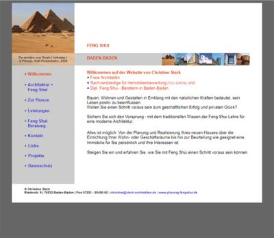 Website für Planung Fengshui / Christine Sterk
