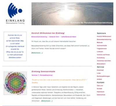 Website für Einklang Bewusstseinstraining